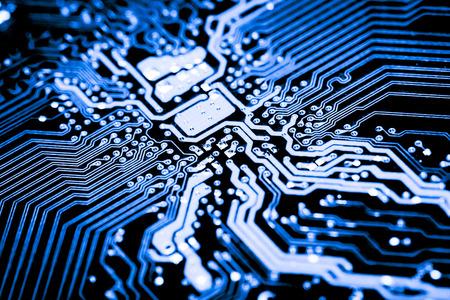 抽象化、電子回路のメインボードのコンピューター技術の背景にクローズ アップ。(ロジック ボード、cpu マザーボード、メインボード、システム ボ 写真素材