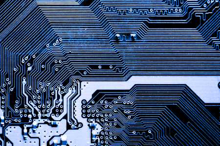 Resumen, primer plano de circuitos electrónicos en el fondo de la tecnología informática de placa base. (placa lógica, placa base de la CPU, placa principal, placa base, mobo) Foto de archivo