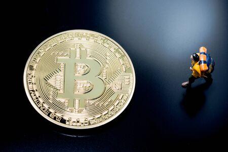 close up of Bitcoin money mining