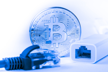 close up of Bitcoin money mining connect Internet Network