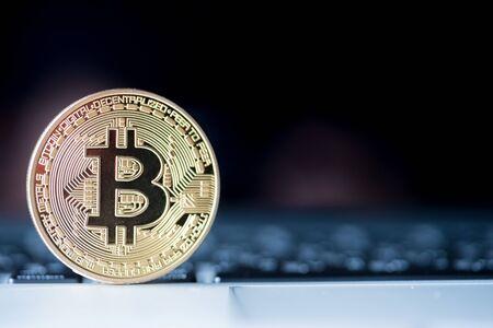 Golden Bitcoin money on computer.