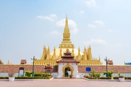 Beautiful Architecture at Pha That Luang Temple in Vientiane, Laos