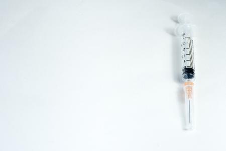 hypodermic needle(injection needle) on white background Stock Photo