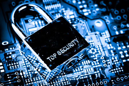 Abstract,close up of Lock on Mainboard Electronic computer background. (best internet top security) Stock Photo