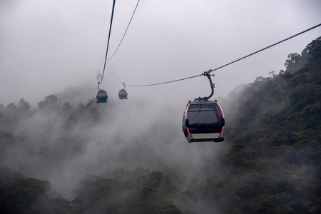 Cable car in the fog.Beautiful nature trail (da nang,vietnam)