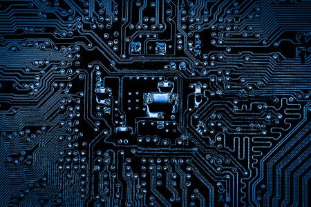Résumé, gros plan du fond de l'ordinateur électronique. (carte logique, carte mère cpu, carte principale, carte système, mobo)