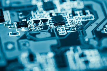 Zusammenfassung, Abschluss oben des Hintergrundes des elektronischen Computers Mainboard. (Hauptplatine, CPU-Motherboard, Hauptplatine, Systemplatine, Mobo)