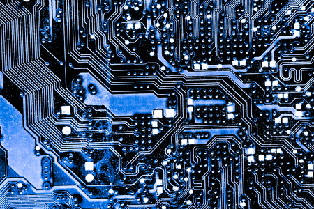Resumen, cerca de Mainboard Fondo de computadora electrónica. (placa lógica, placa base de la CPU, placa principal, placa del sistema, mobo)