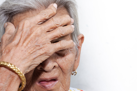 The old womans felling lonely.(dementia and Alzheimer's disease) Banco de Imagens