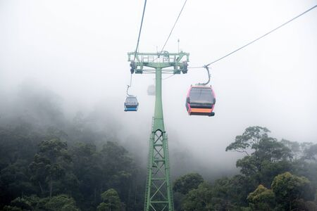 Cable car in the fog. Beautiful nature trail, da nang, Vietnam