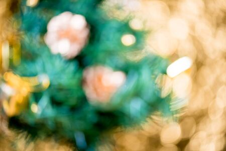 abstract blur Christmas Tree bokeh background.