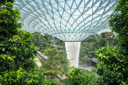 The Rain Vortex at Jewel Changi Airport, Singapore. Stock Photo
