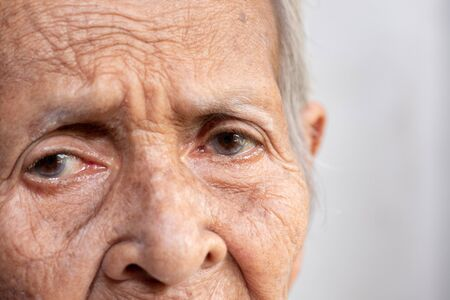 The old woman's felling lonely.(dementia and Alzheimer's disease)
