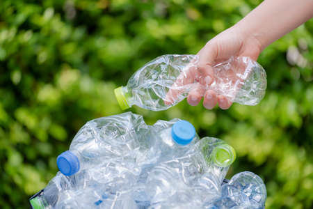 Plastic bottles waiting to be taken to recycle.