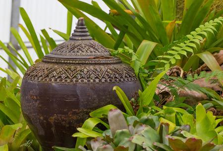 Lanna vase style in public botanic garden photo