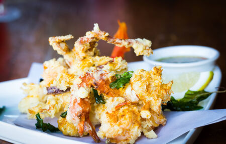 chinese food: Fried seafood on dish Stock Photo