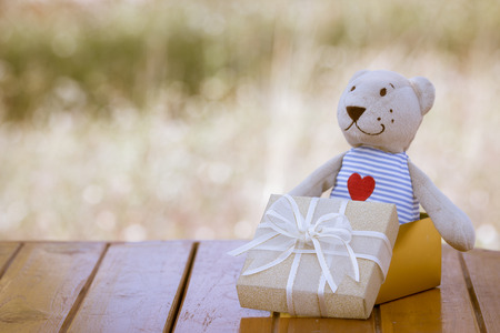 Teddy bear on gold gift box on wood table on meadow background in retro style