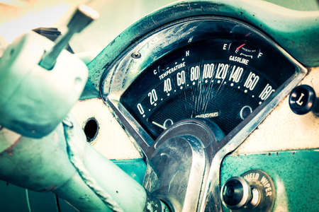 abandoned car: Old car dashboard in vintage car Stock Photo