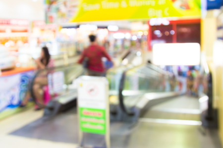 Blur image of shopping mall with bokeh  photo