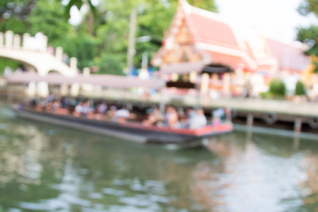 floating bridge: Blurred image of lifestyle at floating market in Thailand with bokeh