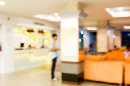 counter service: Blurred image of counter service and waiting area at hotel for background usage