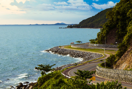 Coastal road sea in  Chanthaburi, Thailand photo