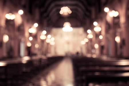 blurred photo of church interior in vintage filter for background Stock Photo
