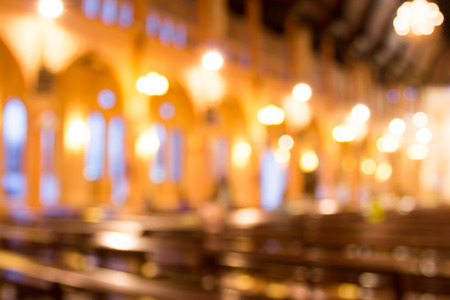 blurred photo of church interior for abstract background Stock Photo