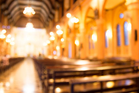 blurred photo of church interior for abstract background Stockfoto