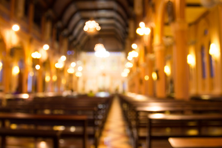churches: blurred photo of church interior for abstract background Stock Photo