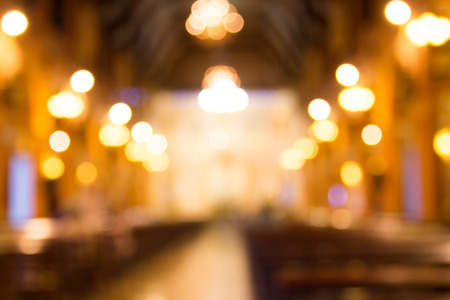 congregation: blurred photo of church interior for abstract background Stock Photo