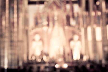 blurred photo of temple interior in vintage filter for background