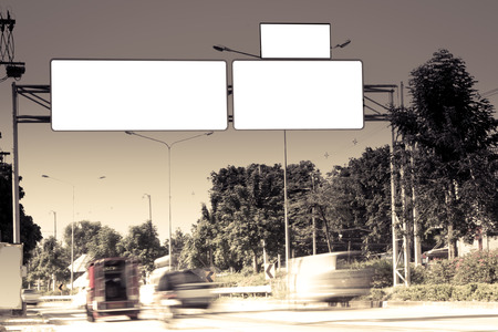 bill board: blank sign or bill board on road in day time in vintage filter