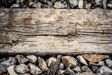 sleeper: old wooden sleeper on railway track Stock Photo