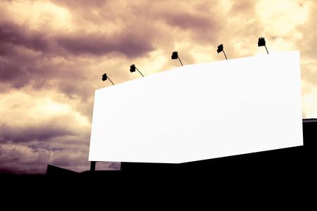 blank billboard: Blank billboard on raincloud sky for advertisement,vintage  filter