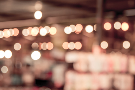 public market: blurred restaurant in public market with bokeh in vintage color tone