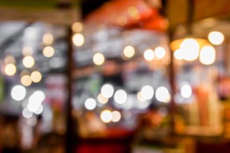 public market: blurred restaurant in public market with bokeh Stock Photo