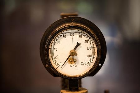manometer: Closeup dial of manometer mechanical device in laboratory