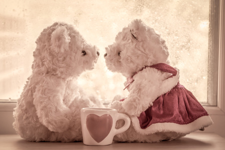 Lovely glass with couple teddy bears in love sitting in front of a rainy day window ,vintage filter,selective focus on glass