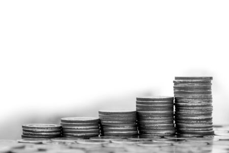financial cash: Saving and Business concept, Money coin stack growing graph in black and white