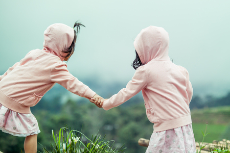 two tone: Child two cute little girls holding hand each other in the garden in vintage color tone Stock Photo