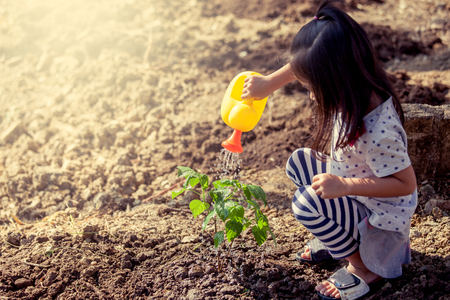 Asian little girl watering young tree with watering pot in vintage color tone Foto de archivo