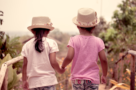 two tone: Back view of two little girls holding hand and walking together in the garden in vintage color tone Stock Photo