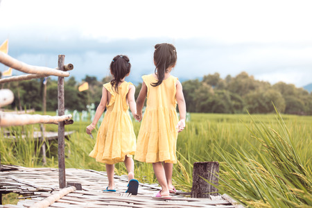 Back view of two little girls holding hand and walking together in bamboo walkway at the cornfield in vintage color tone