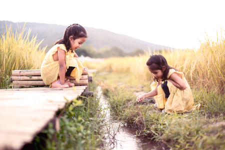 Two happy asian little child girls having fun to play together and sitting on bamboo walkway with stream in the paddy field in vintage color tone