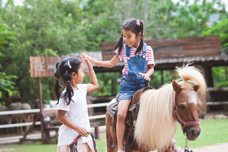 Cute asian child girl riding a pony and making hi five gesture with her elder sister in the farm with fun 스톡 콘텐츠