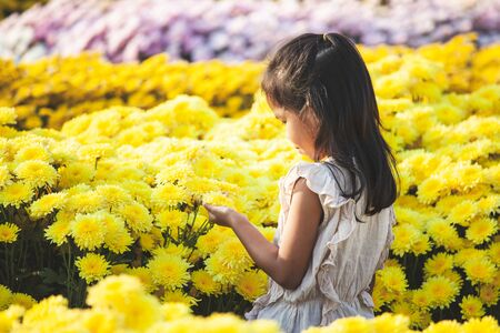 Cute asian child girl love flower and having fun with beautiful flower in the flower garden Imagens