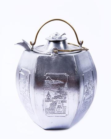 silver Metal Tiffin tea pot photo