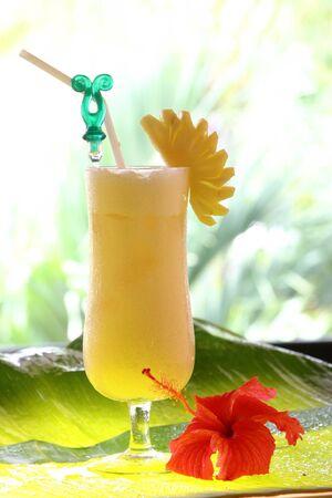 Refreshing pineapple and orange milkshake  photo