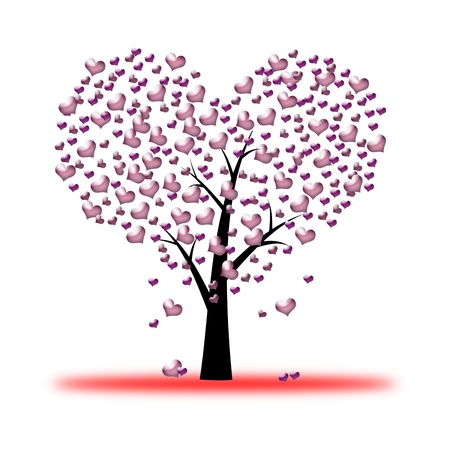 pink  valentine tree, love, leaf from hearts photo